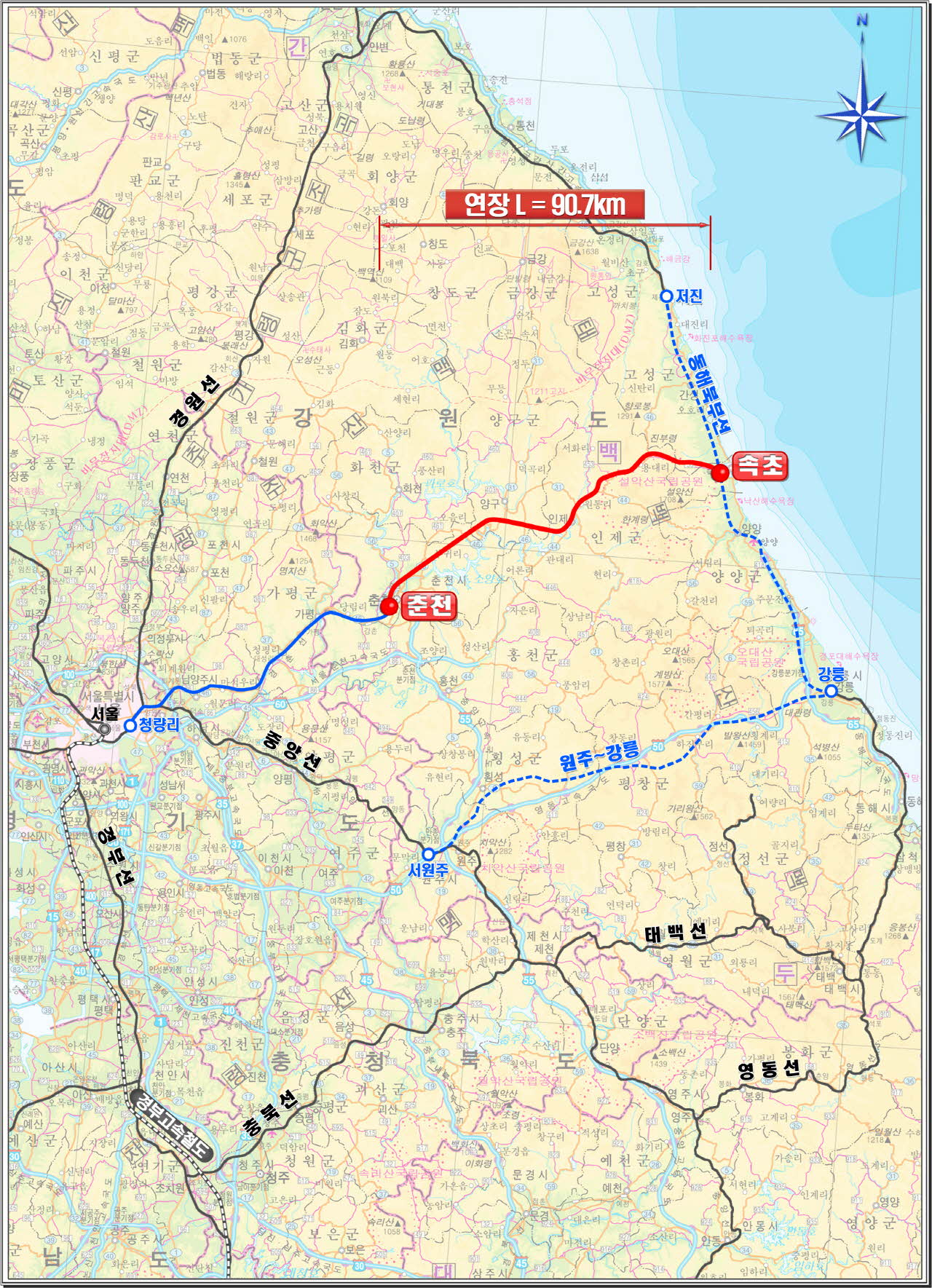 The new line to be constructed is marked in red.