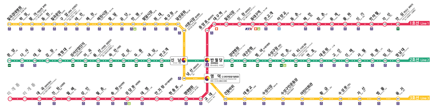 South Korean Subway Lines Seoul Metro Busan Daegu Gwangju