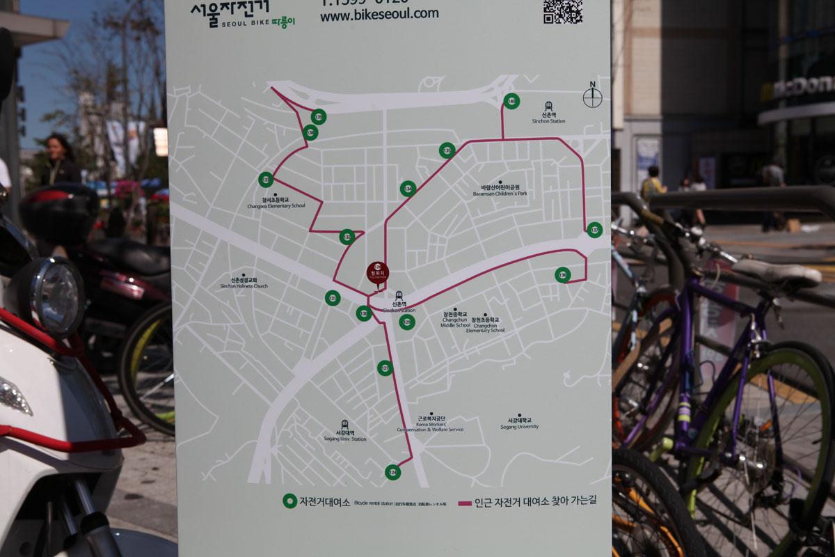 Seoul Public Bicycle Sinchon Map