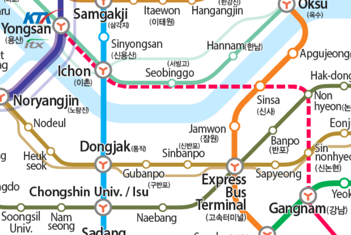 Shinbundang Northern Extension on Map